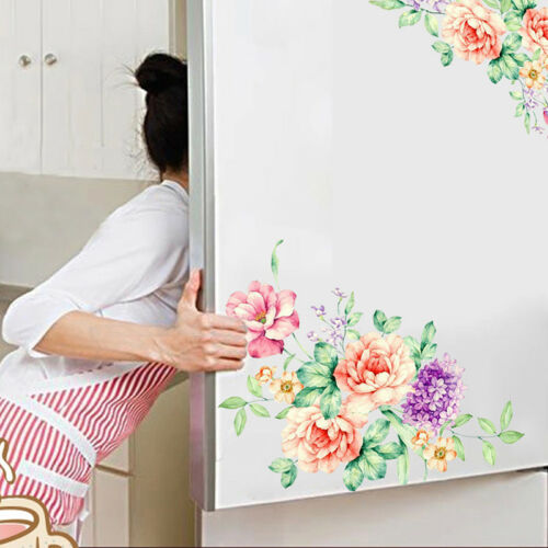 2Set Chic Peony Flowers Stickers Vinyl Wall Art Decals Washr