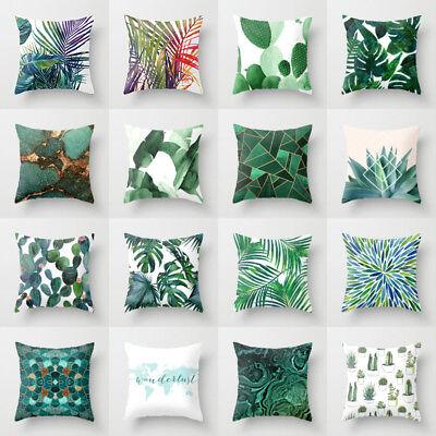 Natural pillows case green leaves throw sofa Official cushion cover Home Decor ()