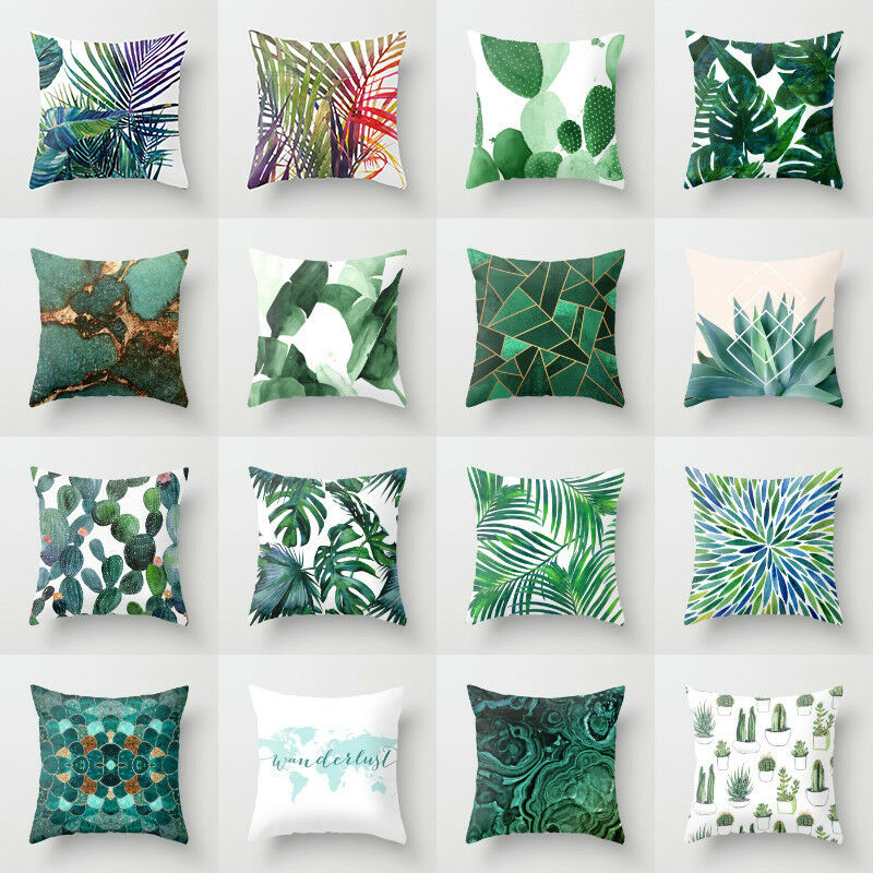 polyester pillow case cover green leaves throw