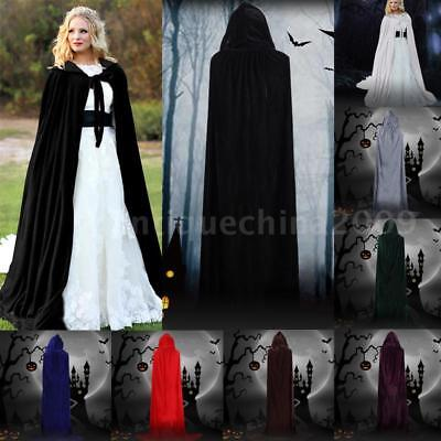 Adult Kids Boy Girl Halloween Hooded Velvet Vampire Cape Witch Cloak Party W3S7 - Boy Girl Halloween Party