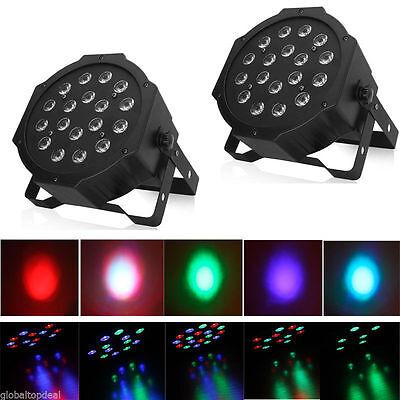 - 2Pcs RGB 18-LED Stage Lighting PAR38 DMX-512 DMX Projector Party DJ Disco Lights