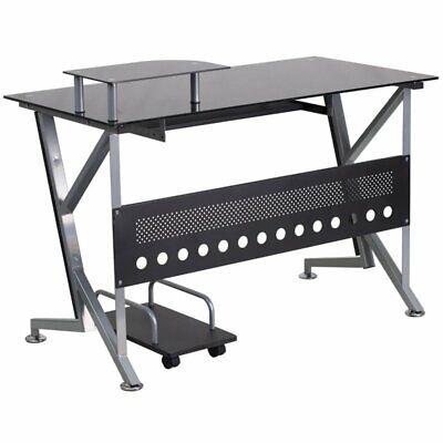 Flash Furniture Glass Top Computer Desk with CPU Cart in Black (Glass Computer Cart)