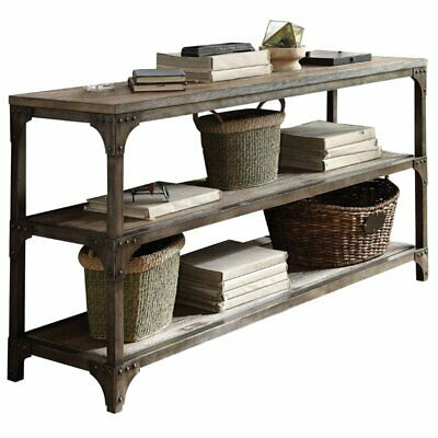 Bowery Hill Console Table in Weathered Oak and Antique Silver for sale  Sterling
