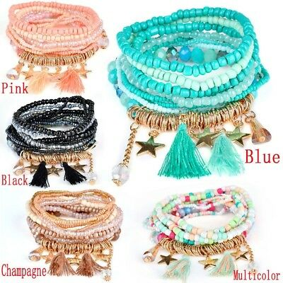 Bohemian Star Tassel Pendant Multi-layer Bracelet for Female Girls Gifts US
