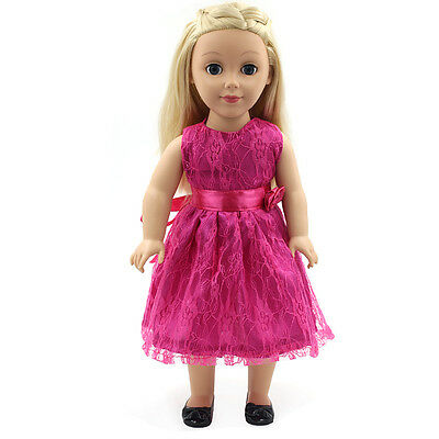 "Handmade For American Girl Skirt Dress 18""Doll Clothes Rose Red   on Rummage"