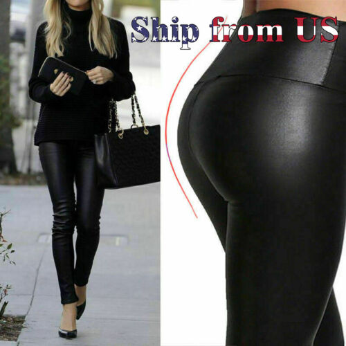 Black Faux PU Leather Skinny Pants Trousers Push Up Butt Lift Stretch Leggings