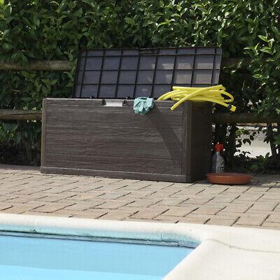 280L Waterproof Brown Plastic Wood Effect Garden Outdoor Storage Chest / Trunk