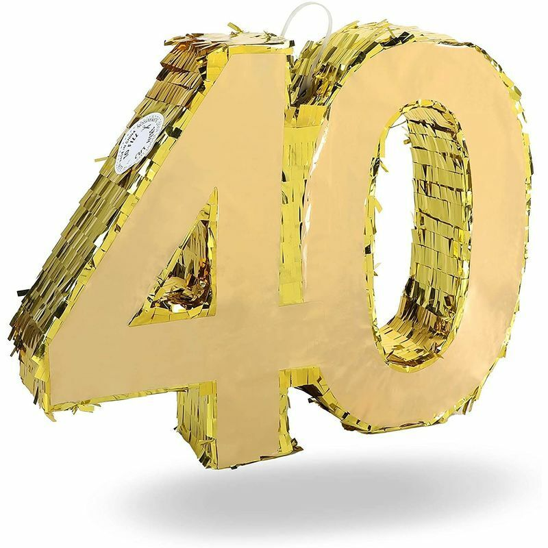Gold Foil Pinata for 40th Birthday Party (16.5 x 13 Inches)