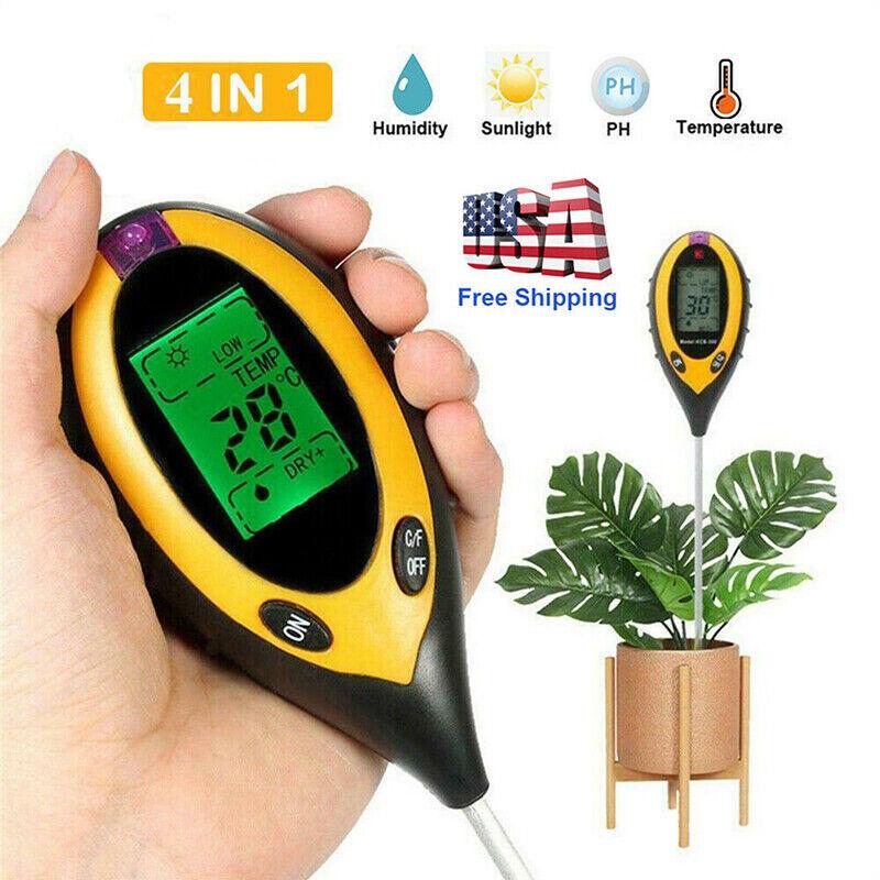 4 in 1 pH Soil Tester Water Moisture Sunlight Meter Tool For Garden Flower Plant