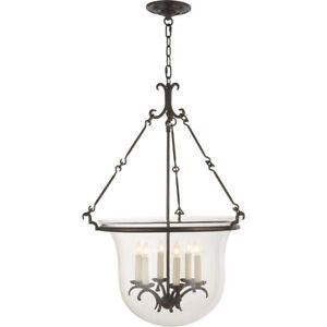 SPECTACULAR 6-Light Iron & Glass Bell Jar Pendant - WOW!!