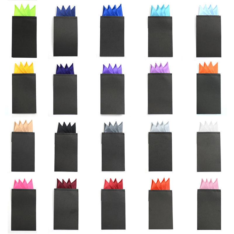 Fashion Men Solid Color 4 Folds Pre-folded Pocket Square Handkerchief Wedding