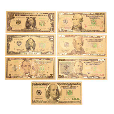1 Set 7 Pcs Gold Plated Us Dollar Paper Money Banknotes Crafts For Collection Db