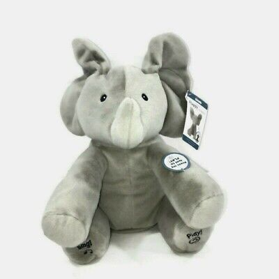 "BABY GUND Animated Flappy the Elephant Stuffed Animal Plush Gray 12"" New w/ tags"