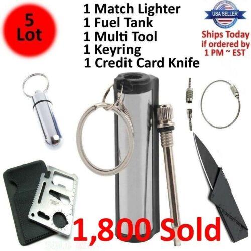 Waterproof Match Permanent Lighter Striker Fire Starter Emergency Survival Kit