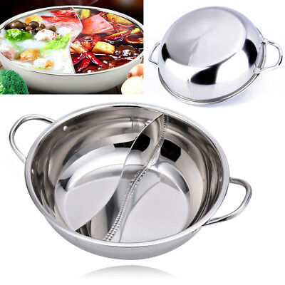 28-38cm Stainless Steel Cookware Shabu-Shabu Twin Hot Pot Induction Compatible