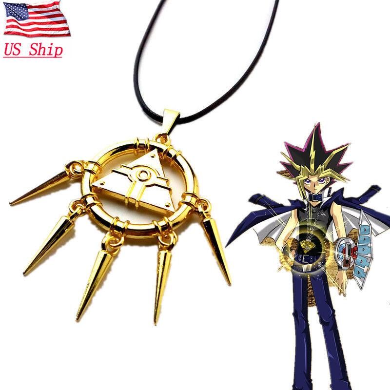 US! Yami Bakura Millennium Ryo Puzzle Gold Necklace Wheel Wisdom Pendant Gift