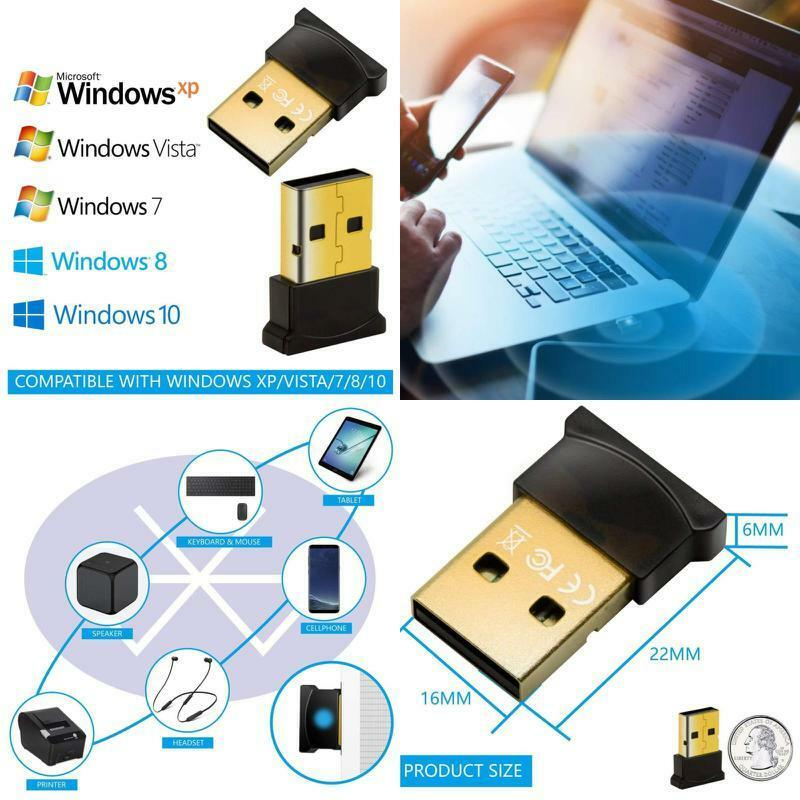 Bluetooth 4.0 USB Adapter for PC Desktop Wireless Windows 7-