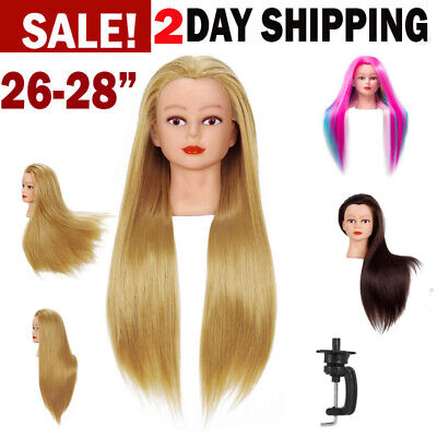 "Cosmetology Mannequin Head 26"" - 28"" Human Hair Hairdressing Training Model Doll"