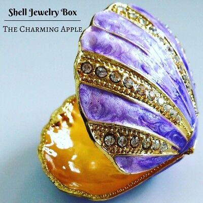 Purple Sea Shell Enamel Jewelry Box_Jewellery_Ring Holder_Home Decor_Fairy-Tale