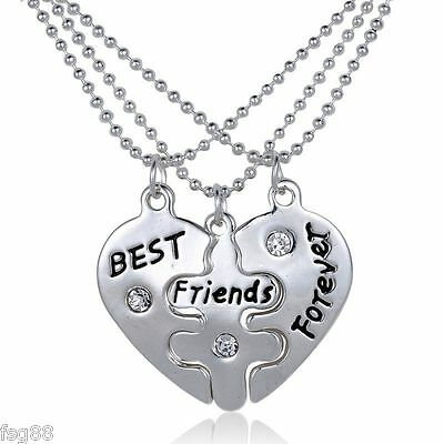 New BFF Best Friends Forever 3 Pendent Necklaces Pendant Heart Love - Best Friends Forever Necklaces