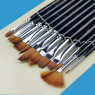 12x Nylon Hair Paint Brush Artist Watercolor Acrylic Oil Painting Supplies xz