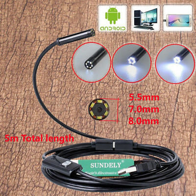 Mini 2In1 Android Endoscope Borescope Snake Inspection HD Camera Scope IP67 8mm