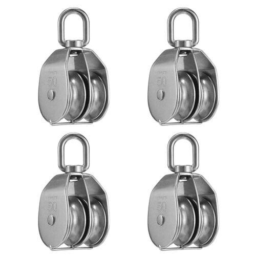 8 Packs M50 Pulley Block Load 400kg Stainless Steel Swivel Pulley Wheel Roller