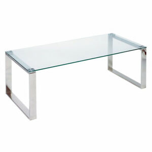 Modern Tempered Glass & Chrome Coffee Table - Brand New