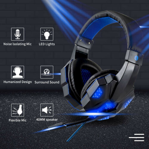 For Computer PC 3.5mm Wired Gaming Headset Stereo Headphones