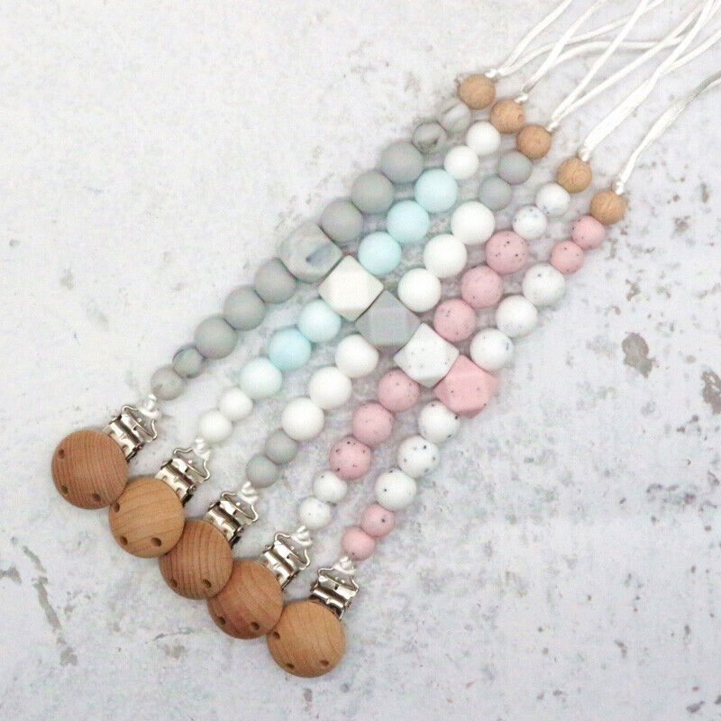 Pacifier chain with silicone beads