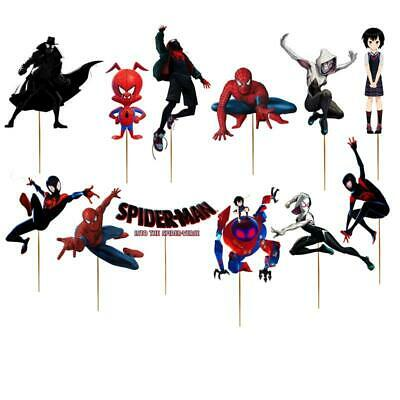 12PC SPIDERMAN SPIDER MAN VERSE CUPCAKE TOPPERS TOPPER CAKE PARTY DECORATION - Spiderman Cupcake Topper