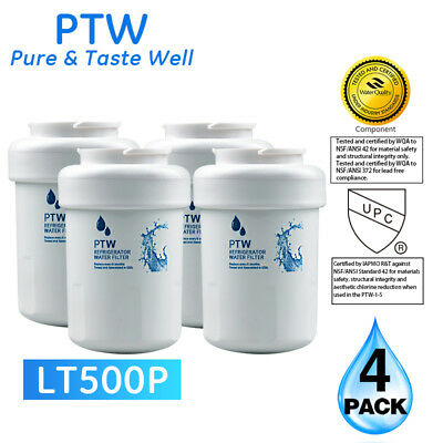 PTW Replacement For GE MWF SmartWater MWFP GWF Refrigerator Water Filter 4 Pack