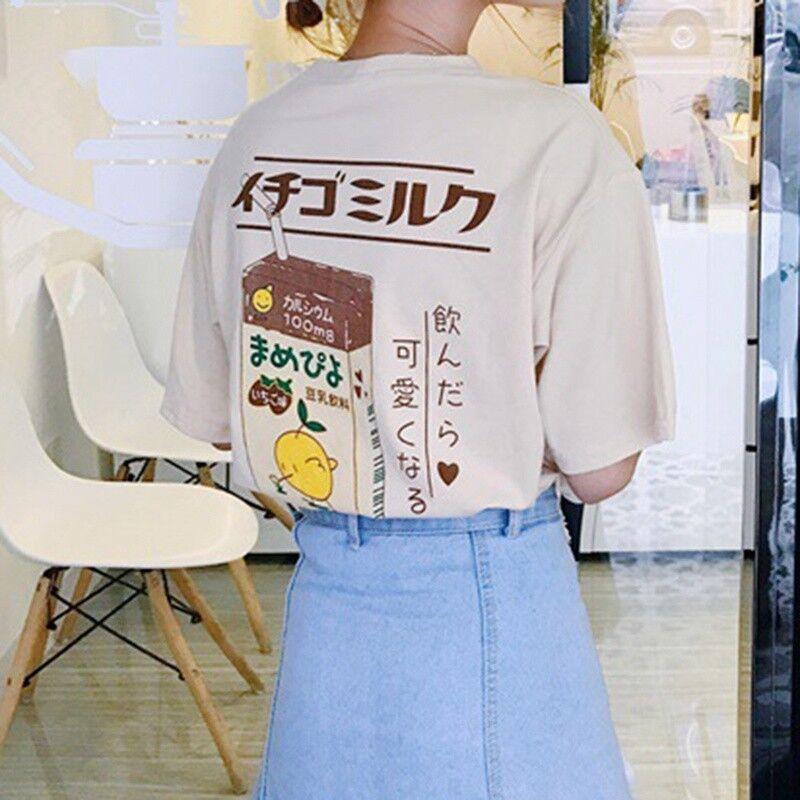 Strawberry Fairy Tops T-shirt Box Sleeve  Women Short Kawaii Harajuku Kei Milk