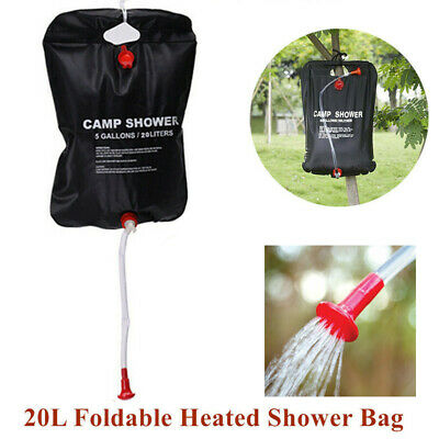 5GALLONS/20LITERS Outdoor Camping Hiking Shower Energy Heated Camp Solar Shower