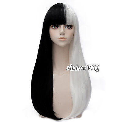 Lolita Women 65CM Long Black And White Straight Hair Halloween Cosplay Party Wig (Black And White Halloween Wig)