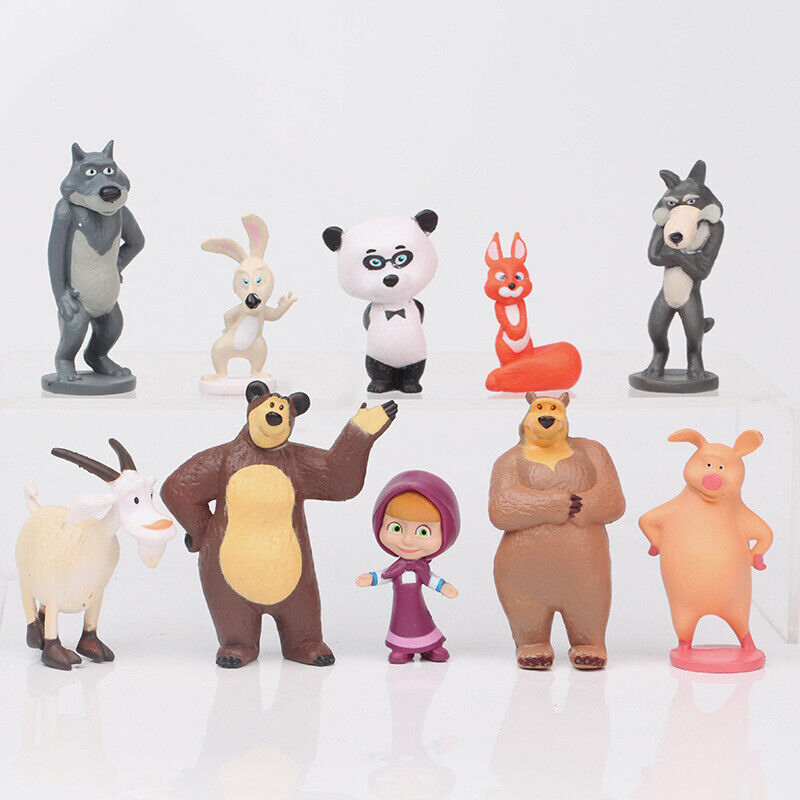10 PCS Masha and The Bear Action Figures Set Party Toys Dolls Gift Cake Toppers Toys & Hobbies