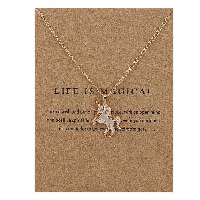Jewellery - Children's Jewellery Silver or Gold colour UNICORN Necklace / Pendant & card