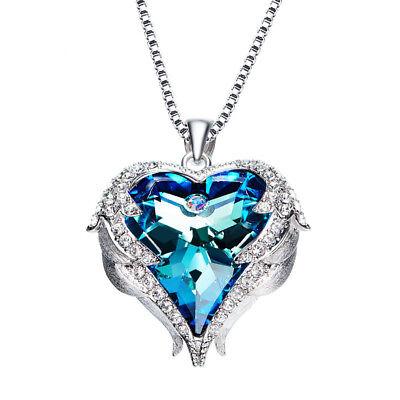 Herzkette Herz Anhänger Schutzengel Flügel mit SWAROVSKI® Kristall 18K Weißgold