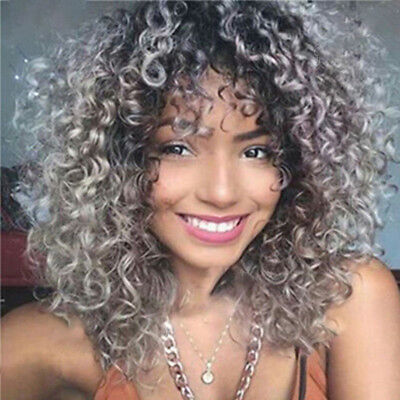 Fashion Gracefully Short Afro Curly Grey Silver Women's Synthetic Hair Wig US - Silver Afro Wig