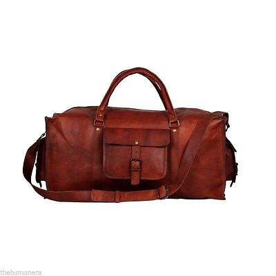 Top Men's duffel genuine Leather large vintage  travel gym weekend overnight bag