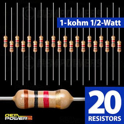 20 X Radioshack 1k-ohm 12-watt 5 Carbon Film Resistor 2711118 Bulk Pack New