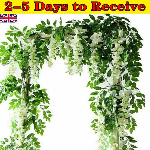 Home Decoration - 2x 7ft Artificial Wisteria Vine Garland Plant Foliage String Flower Home Decor