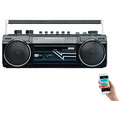 auvisio Retro-Boombox mit Kassetten-Player, Radio, USB, SD & Bluetooth, 8 Watt ()