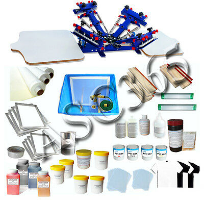 Rotary 4 Color 2 Station Silk Screen Printing Press Kit T-shirt Printing Tools
