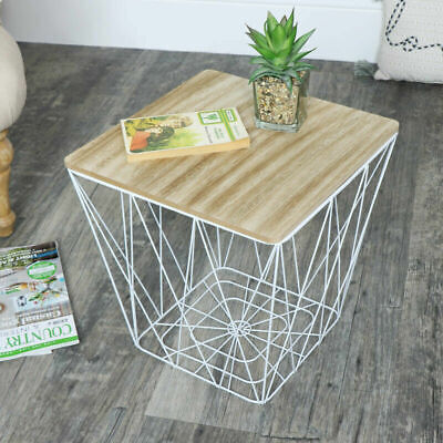 WHITE METAL WIRE WOODEN SQUARE TABLE STORAGE BASKET LOFT LIVING HOME FURNITURE