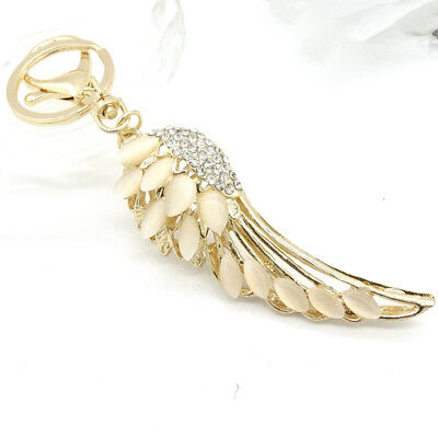 Handbag Charm Necklace (Key Chains Angel Wings Keyring Handbag Rhinestone Crystal Charm Pendant)