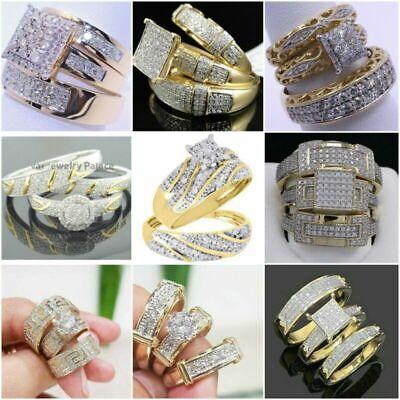 3Pcs/Set 18K Yellow Gold Filled White Sapphire Ring Women Men's Wedding Jewelry 3 Stone Wedding Band
