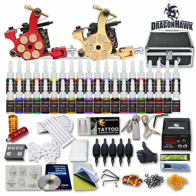 Tattoo Kit 2 Machine Gun 40 Color ink Tip Power Supply Set 50 Needles Grips