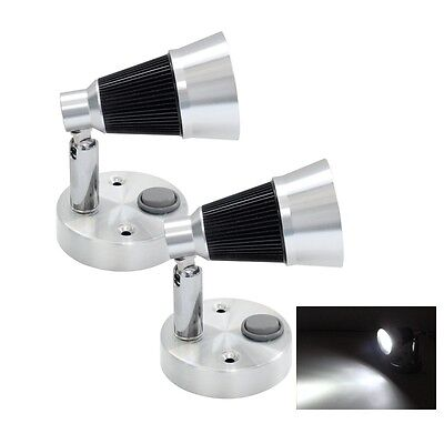 2X12V LED Leseleuchte Wandlampe Wohnmobil Wohnwagen  Automobil Drehbar Schalter