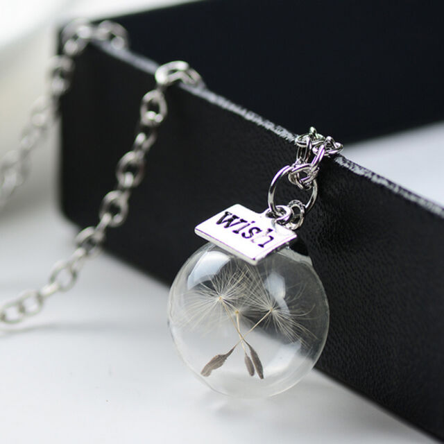 Dandelion Seeds Lucky Glass Fashion Women Real Wishing Bottle Pendant Necklace